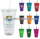 Double wall ice tumbler with straw and lid