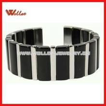 Stainless Steel and Black Resin Cuff Bracelet