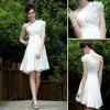 DORISQUEEN White Fashion Tea Length Chiffon Cocktail Dresses