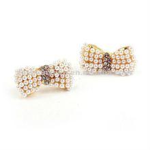 Korea style jewelry star earrings-The fair maiden pearl bowknot earpins