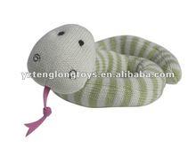 Custom 20cm lovely and cheap kids gift soft stuffed kintted snake