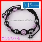 2012 latest cheap beautiful cute cheap crystal ball bead young teen girl bracelets