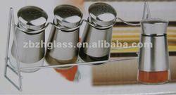 Mini shining stainless steel coated glass cruet with metal rack
