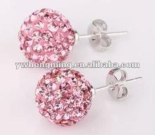 Pink Color Crystal Rhinestone Shamballa Earring!!Shamballa style crystal stud earring!!