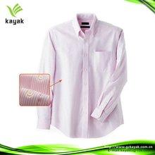 Rosa e branco formal cetim listrado camisas para os homens