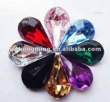 8*13mm Multicolor drop acrylic rhinestone beads,flatback acrylic rhinestone for fashion jewelry!
