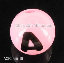 Acrylic pink solid round with black letter beads 10mm 2012 hot sales