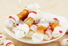rawhide knotted bone wrapped with chicken