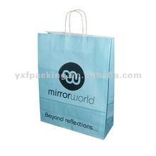 Printed Light Blue Twisted Handled Paper Carrier Bag