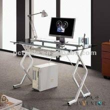 [HOT][office desk manufacturer]newest fashion design glass top and steel frame office desk, durable office desk 1216