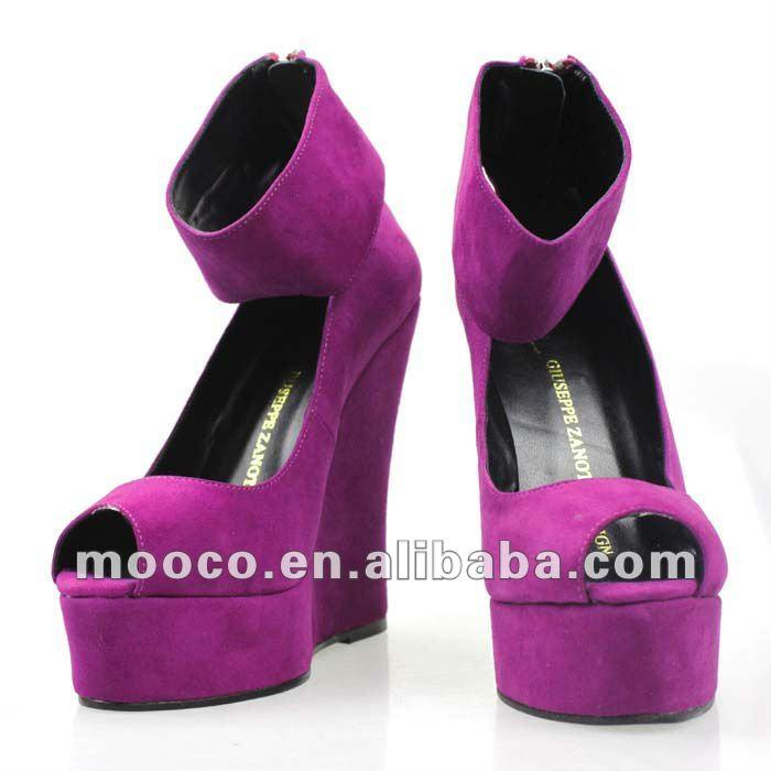 Peep Toe Purple Suede Fashion