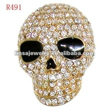 2012 new fashion gold plated skull stainless steel ring