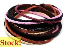 2012 fashion men's stock wrap leather bracelets