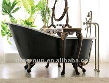 indoor black freestanding acrylic bathtub