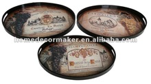 Set of 3 Grapes Design Wooden Serving Tray
