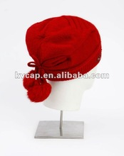 Acrylic women and man Kntting Hat 2012 100%acrylic grey girl's solid knitted cap