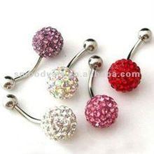 Pieno di diamanti anello di pancia, body piercing gioielli, cristallo ombelico anello - smbr359