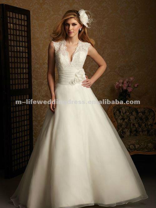 Ww7773 Custom Cream Low Cut Back Open Top Lace Wedding Dress Buy