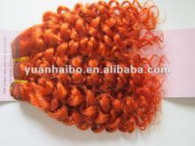 "14"",color :orange,virgin human hair ,deep wave, Virgin brazilian hair weft"