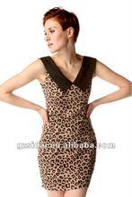 2012 motel leopard print mini bodycon ladies dress with v-neckline contrast collar