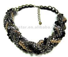 statement art deco braided stone chain prong rhinestone necklace gun black plated
