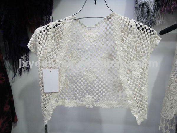 Ganchillo hecho punto suéter / la rebeca de manga corta para
