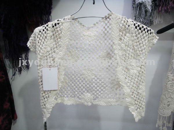 De punto de ganchillo suéter/chaqueta de manga corta