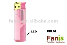 LED electronic plastic gas lighter