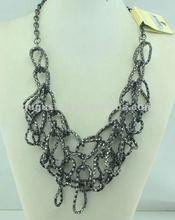 choker art deco braided popcorn chain necklace gun black plated