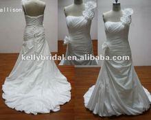 Exclusive One Shoulder Taffeta Light Sweetheart Neckline corset Wedding Dress