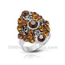 Rhodium Plated Silver or Brass Diamond Ring