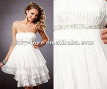 short strapless beaded waistline layered skirt cocktail dress 2012 OLC059