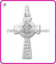 Satin Finish 23rd Psalm Cross Silver Charms(H102010)