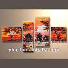 Popular handmade group elephants canvas painting