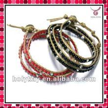 2012 Hot sell Handmade leather beaded wrap bracelets