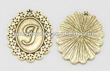 alloy bronze pendants metal pendants alphabet J metal sequin