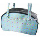 UW-PBP-036 Lovely blue dot 600D oxford fabric dog hand bag,dog training treat bag,dog traveling bag