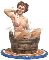 bathing polyresin sexy girl figurine