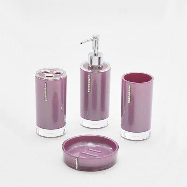 4 pcs set simple design violet diamant salle de bains for Set accessoires salle de bain design