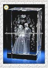 Fashion 3D laser crystal wedding favors gifts