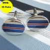 New Design Oval Blue Red Enamel Cuff link MOQ 10 Pairs