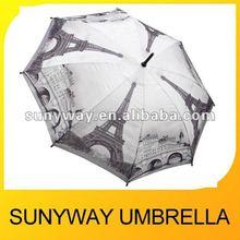 2012 Fashion Paris Design Automatic Straight Umbrella