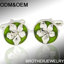 fashion flower women stainless steel cufflinks sets embedded with Enamel