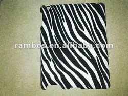 Hot Selling Black leather coated Zebra Pattern skin case For ipad 2