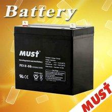 Low Self Discharge 12v55ah lead acid car battery