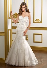 Sexy stunning ruched sweetheart lace fishtail mermaid wedding dress, BDD024