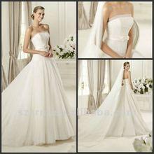 2013 Elegant Strapless Beading Bow Sash Draped Organza A Line Wedding Dresses
