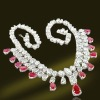 Luxury Platinum Plated Solid Sterling Silver Necklace With Ruby