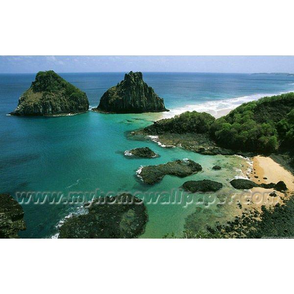 Verde paisaje costero murales de papel tapiz bh5099 - Papeles pintados paisajes ...