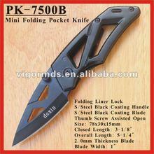"""( pk- 7500b) 3"""" negro de revestimiento de la hoja plegable mini cuchillos de bolsillo"""